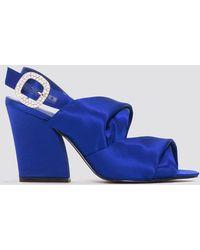 NA-KD Peep Toe Block Sandals Blue