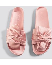 NA-KD Pink Knot Satin Slippers