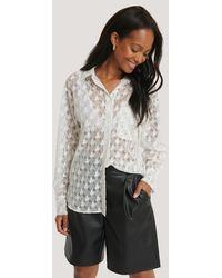 NA-KD Classic Pepita Lace Pocket Blouse - Wit