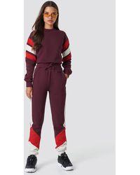 NA-KD Blocked Sweatpants - Paars