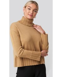 NA-KD Slouchy Turtle Neck Sweater - Bruin