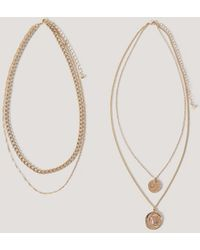 NA-KD Accessories Layered Coin And Chain Necklaces - Mettallic