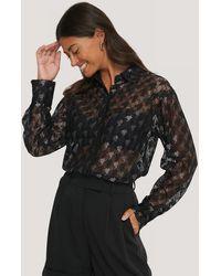 NA-KD Classic Pepita Lace Pocket Blouse - Zwart