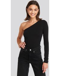 NA-KD Black One Shoulder Top