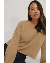 NA-KD Cropped Long Sleeve Knitted Sweater - Naturel