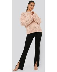 NA-KD - Front Slit Jersey Pants - Lyst