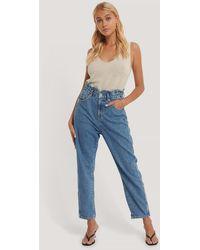 Mango Slouchy Jeans Mit Nahtdetail - Blau