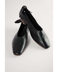 NA-KD Shoes Leren Ballerina's Met Strik - Zwart