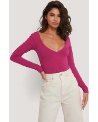 NA-KD Cup Detail Long Sleeve Body - Roze