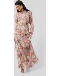 NA-KD Flower Printed Midi Dress - Meerkleurig