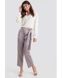 Trendyol Belt Satin Trousers - Paars