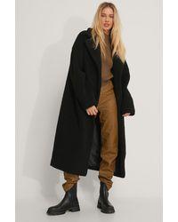 NA-KD Black,grey Oversized Long Teddy Coat