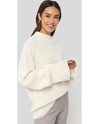NA-KD Ribbed Knitted Turtleneck Sweater - Natur