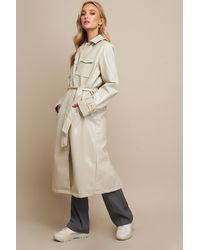 NA-KD Patent Long Jacket Beige - Natural
