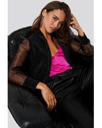 Trendyol Organza Detailed Knitted Jacket - Schwarz