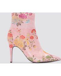 NA-KD - Jacquard Flower Satin Boots - Lyst