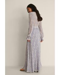 NA-KD Boho Maxi-jurk Met V-hals - Blauw