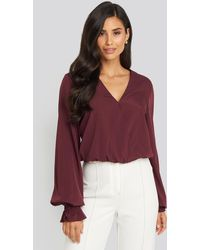 NA-KD Wrap Over Blouse - Paars
