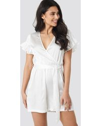NA-KD Frill Sleeve Printed Playsuit - Wit