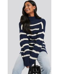 NA-KD High Neck Striped Knitted Sweater - Blau