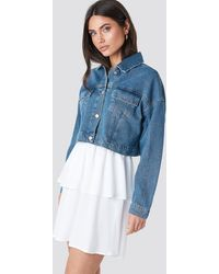 NA-KD Cropped Regular Hem Denim Jacket - Blauw