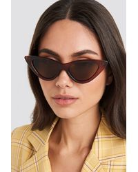 NA-KD Pointy Cat Eye Sunglasses Brown