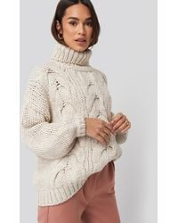 NA-KD Wool Blend High Neck Heavy Cable Knitted Sweater - Meerkleurig