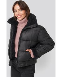 NA-KD Faux Fur Detailed Puffer Jacket Black