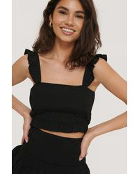 NA-KD - Cropped Top Met Ruches - Lyst