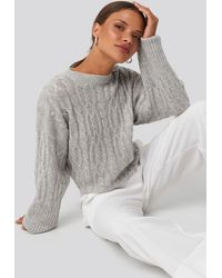 NA-KD Cropped Cable Knitted Sweater Gray