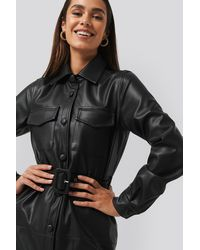 NA-KD Trend Soft PU Belted Mini Dress - Schwarz