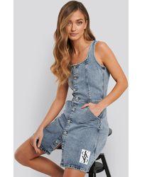 Calvin Klein Button Down Tank Dress - Blauw