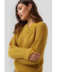 NA-KD Wide Band V-neck Ribbed Jumper Yellow