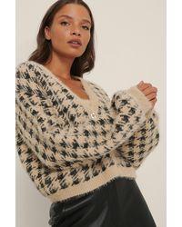 NA-KD Trend Cardigan En Tricot À Carreaux - Neutre