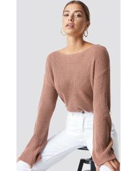 NA-KD - Cropped Long Sleeve Knitted Sweater Dusty Dark Pink - Lyst