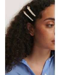 NA-KD White,gold Pearl Row Hairclips - Metallic