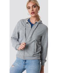 NA-KD - Basic Zipped Hoodie Grey Mel - Lyst
