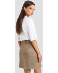 NA-KD Emilie Briting x Front Pocket Checked Skirt - Braun