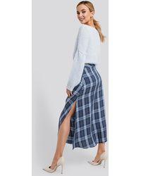NA-KD Trend High Waist Side Split Midi Skirt - Blau