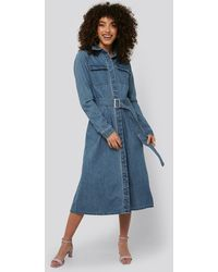 NA-KD Belted Denim Shirt Dress - Blauw