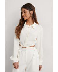 NA-KD Trend Blouse Met Gedetailleerde Taille - Wit