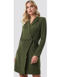 NA-KD Collared Wrap Over Midi Dress - Groen
