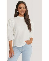 Glamorous Textured Puff Sleeve Top - Wit