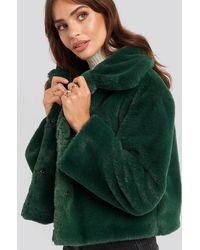 Rut&Circle Elin Faux Fur Short Jacket - Groen