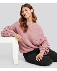 NA-KD Puff Sleeve Sweater - Pink
