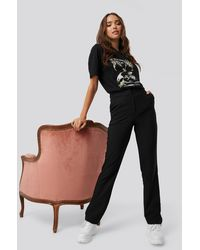 NA-KD Straight Suiting Trousers Black