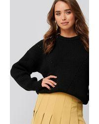 NA-KD Wool Blend Pointelle Stitch Sweater - Schwarz