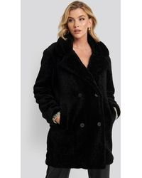 NA-KD Long Teddy Coat - Zwart