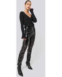 NA-KD Fold Hem Pu Trousers Black