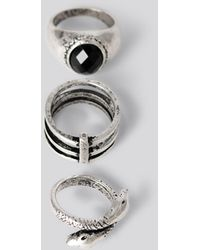 NA-KD Laura Genovino 3-pack Rings - Metallic
